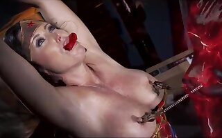 Big tited woman, Christina Carter was caught by a monster and tortured in the basement