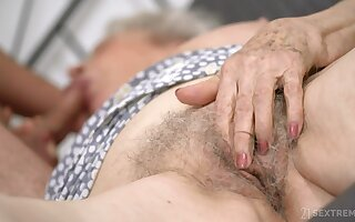 Senile granny regarding big boobs Norma B gets intimate regarding young man