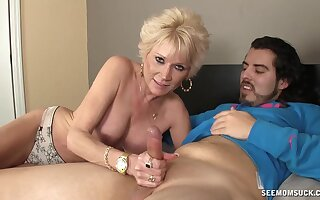 Roused auntie loves playing with nephew's young dick