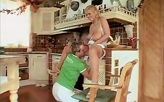 Strapping titty blonde fro mgermany sucking and fucking boy